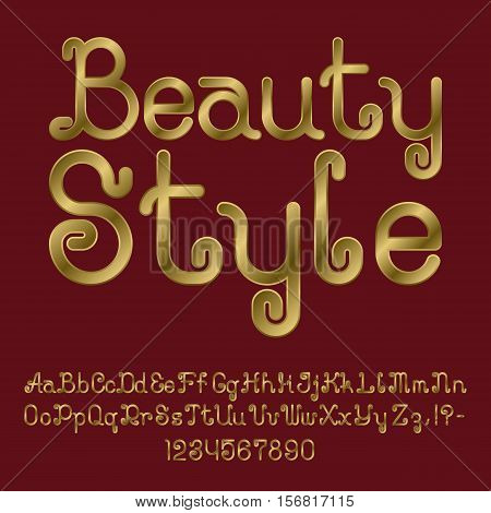 Beautiful golden curly font. Isolated english alphabet of capital and lowercase letters with numbers and punctuation marks. Beauty Style text lettering.
