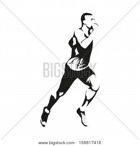 Running man vector isolated illustration. Sport athlete run decathlon