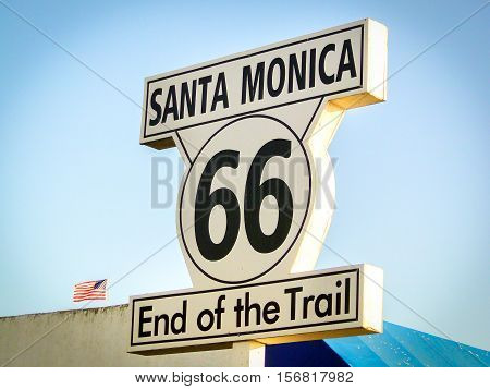Santa Monica Route 66 End of the Trail sign California Los Angeles landmark vintage vignette