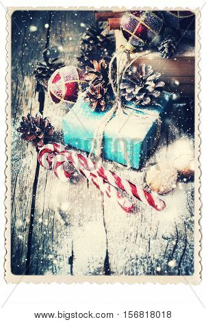 Retro Card With Festive Gifts. Vintage. Drawn Snowfall