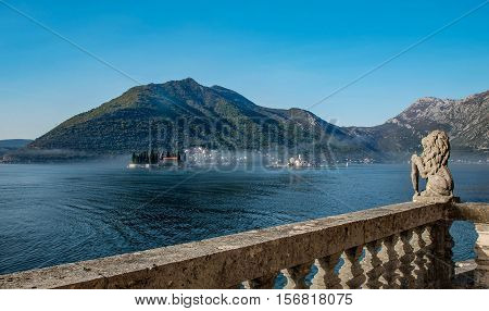Perast,Montenegro- October 25, 2016: Our Lady of the Rocks Church on the Island and St. George Island in the Bay of Kotor Montenegro