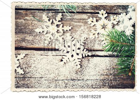 Retro Card Isolated On White With Christmas Decorative Snowflakes