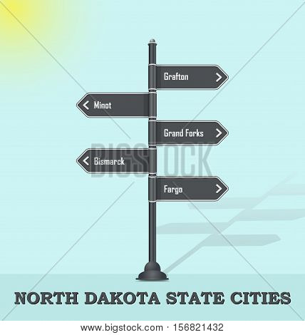Road signpost template for USA towns and cities - North Dakota state