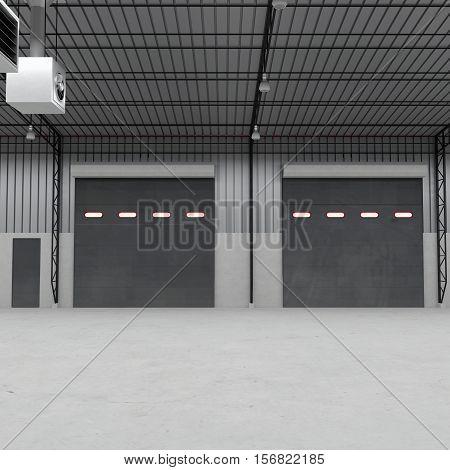 Shutter doors or roller doors and concrete floor inside factory building use for industrial background. 3D illustration