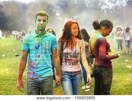 Russia Moscow September 6 2014: Color Fest September 2014 in Moscow. Roots of this fest are in India where it called Holi Fest. Now russian people celebrate it too.