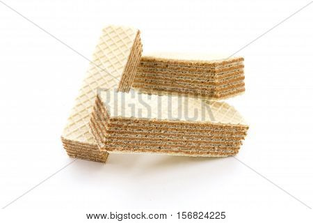 Chocolate wafers on a white background closeup
