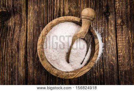 Portion Of Himalayan Salt On Wooden Background (selective Focus)