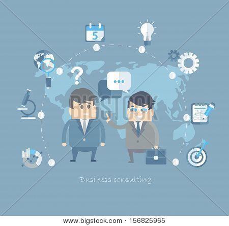 Flat design vector concepts for business and finance, strategic management and investment, natural resources, consulting, teamwork, great idea.