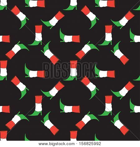 Seamless pattern with doodle Italian flag colors boot. Design for background, print, covers, t-shirt, fabric, textile, wallpapers, packaging. tourism and adventure