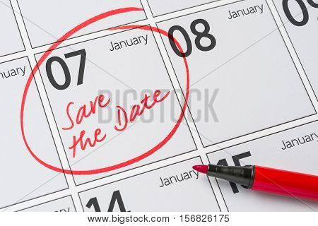 Save The Date Written On A Calendar - January 07