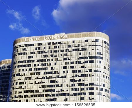 PARIS FRANCE - SEPTEMBER 29 2015: Coeur Defense is an office skyscraper in La Defense business district in Paris France