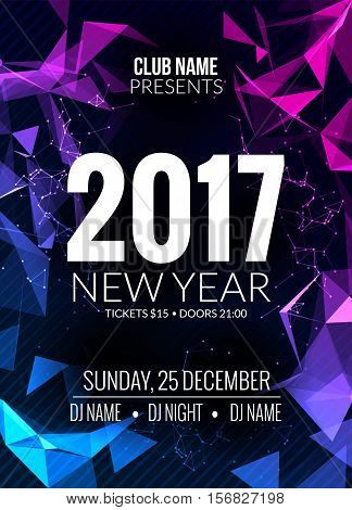 New Year party design banner. Event celebration flyer template. New year festive poster invitation 2017.