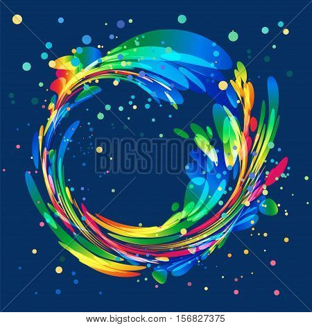 Abstract colorful rounded element on dark background