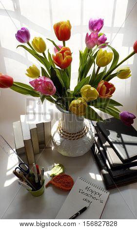Happy Teachers Day, Handmade Tulip Flower