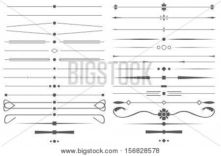 Set of Simple Decorative Page Dividers and Design Elements.