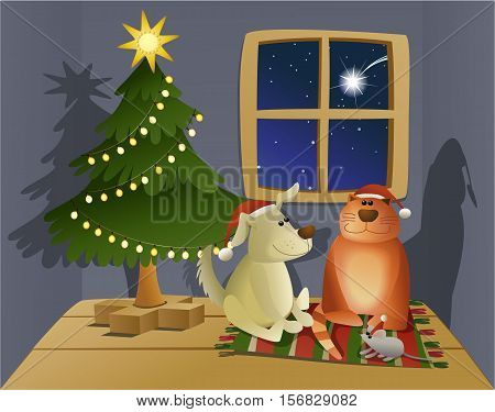Christmas friendly pets - holiday vector illustration