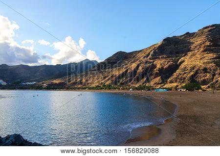 Coastline of Las Teresitas beach at sunset. Playa de las Teresitas TenerifeCanary IslandsSpain.