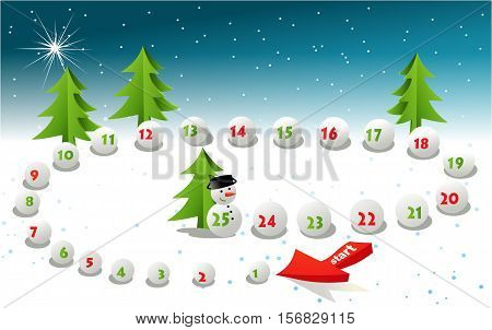 Advent calendar - Christmas board game - vector illustration