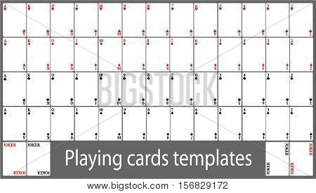 Playing cards template set - vector illustration