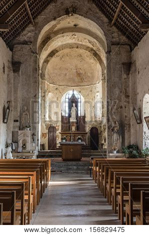 BREM-SUR-MER - NOVEMBER 1, 2016, Inside of the Church Saint-Nicolas (Vendee, France)