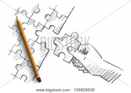 Vector hand drawn puzzle hand concept sketch with pencil over it. Human hand completing whole puzzle with last piece