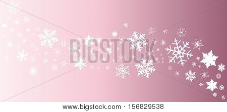 A banner of snowflakes in white over a pink background