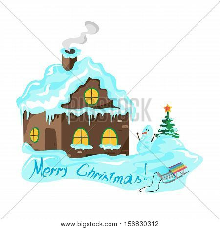 Winter house with a Christmas tree, a snowman, sled, vector illustration