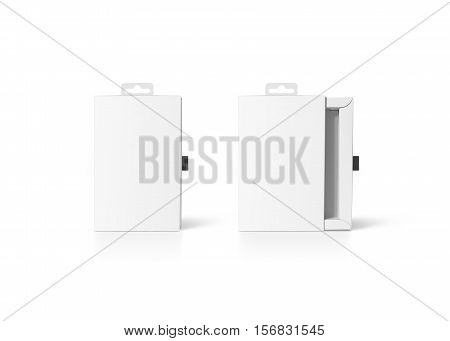Blank white cardboard accessory box mockup, closed and opened, clipping path. Empty carton product packaging mock up with hanger. Phone accessories paper pack template. Smartphone cover case design.