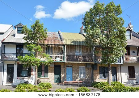 Sydney Australia - October 23 2016: Victorian Terraced houses in Sydney Australia.Terraced housing was introduced to Australia in the 19th century. Their architectural work was based on those in London and Paris.