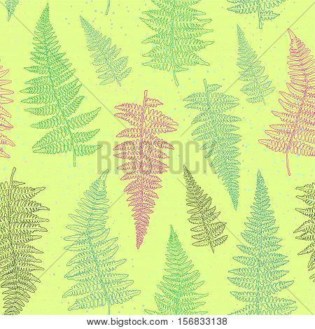 Seamless pattern with bright hand drawn fern leaves on light green background . Vector illustration