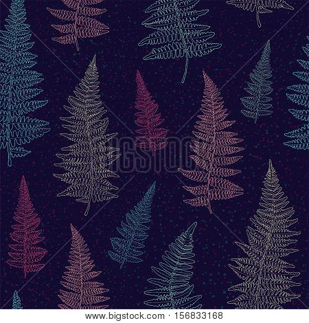 Seamless pattern with bright ink hand drawn fern leaves on dark blue background . Vector illustration