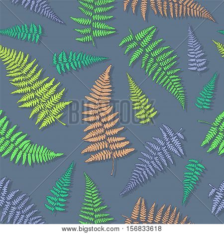 Seamless pattern with bright ink hand drawn fern leaves on light blue background . Vector illustration