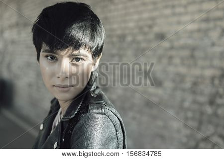 Woman with short stylish hair - urban setting