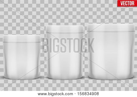 Template Sport Nutrition Foil Package. Whey Protein and Gainer. White color. Vector Illustration isolated on white background