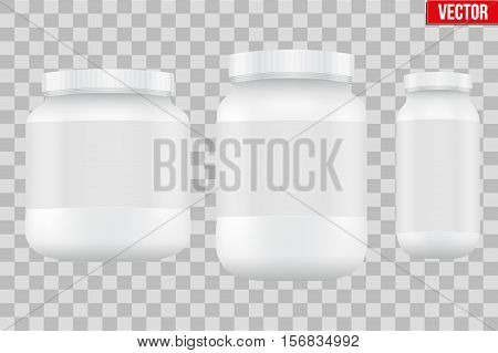Template Background of Sport Nutrition Container. Plastic Whey Protein and Gainer Supplements. Plastic Jar. White color. Vector Illustration isolated on transparent background.
