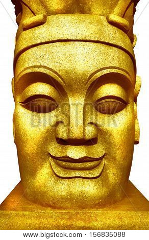 Golden Buddha face close-up a representative of the East Buddhist culture.
