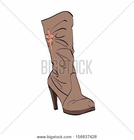 Leather womens boots high heel, color vector illustration isolated