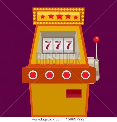 Slot machine with jack pot. Cartoon colorful vector illustration