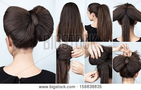 fashionable hairstyle volume bow of ripple curly hair. Hairstyle for long hair. Hairstyle tutorial. Crimped hair. Hairstyle tutorial step by step. Fashionable hairstyle for rippled hair