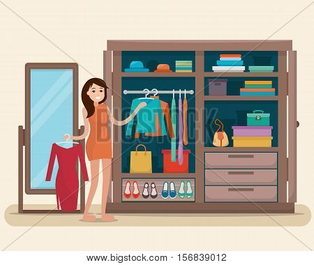 Woman near wardrobe for cloths with mirror. Girl try clothing. Closet with bags, boxes and shoes. Flat style vector illustration.