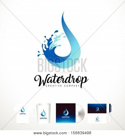 Water Drop Logo. Vector Water Drop Design with Splash. Creative Water Splash with Droplets.
