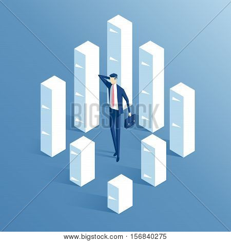 confused businessman standing in large stacks of paper isometric illustration employee downloaded paper work business concept documents and paperwork