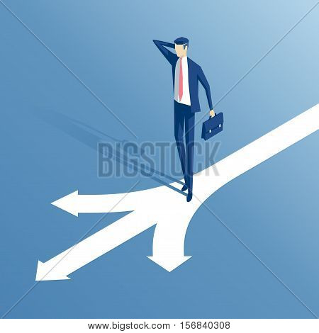 confused businessman standing at a crossroads isometric illustration businessman standing in front of arrows as symbol for choice career path or opportunities business concept decision
