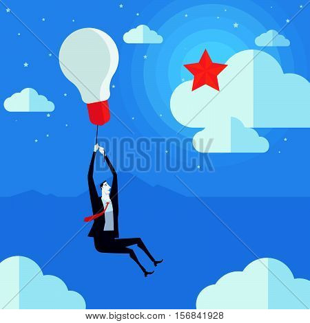 Businessman flying in air balloon with light bulb see the stars. Vector Illustration Business concept a ladder Corporate of success.