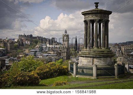 Edinburgh skyline view from Calton HIll of Castle