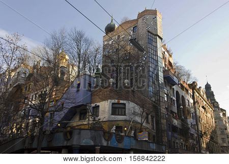 VIENNA, AUSTRIA - DECEMBER 31 2016: Hundertwasser colorful House facade in Vienna Austria