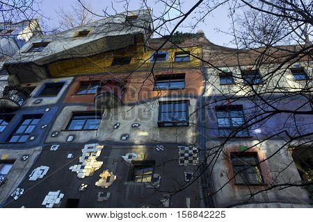 VIENNA, AUSTRIA - DECEMBER 31 2016: The colorfully decorated exterior facade of Hundertwasser House in Vienna Austria