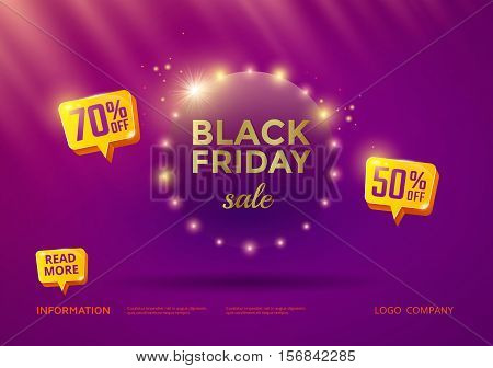 Black Friday sale poster design with purple background and gold text.