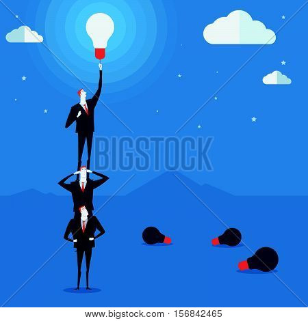 Businessmen do a pyramid of acrobats turn on a lamp. Vector Illustration Business concept a ladder Corporate of success.