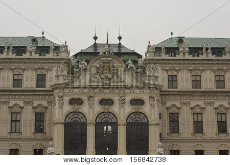 AUSTRIA, VIENNA - JANUARY 1 2016: Frontal view of Belvedere famous building in Vienna Austria